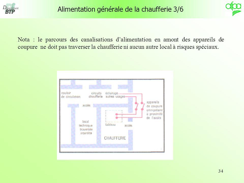 34 Alimentation générale de la chaufferie 3/6 Nota : le parcours des canalisations dalimentation en amont des appareils de coupure ne doit pas travers