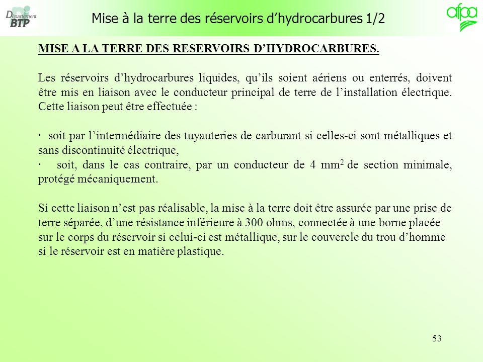53 Mise à la terre des réservoirs dhydrocarbures 1/2 MISE A LA TERRE DES RESERVOIRS DHYDROCARBURES. Les réservoirs dhydrocarbures liquides, quils soie