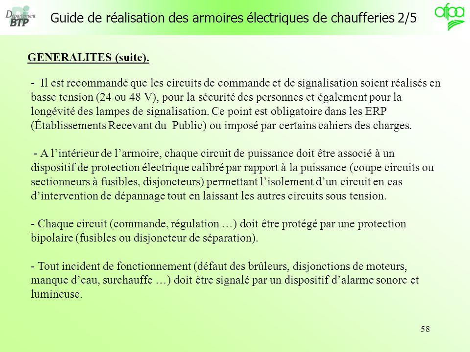 58 Guide de réalisation des armoires électriques de chaufferies 2/5 - Il est recommandé que les circuits de commande et de signalisation soient réalis