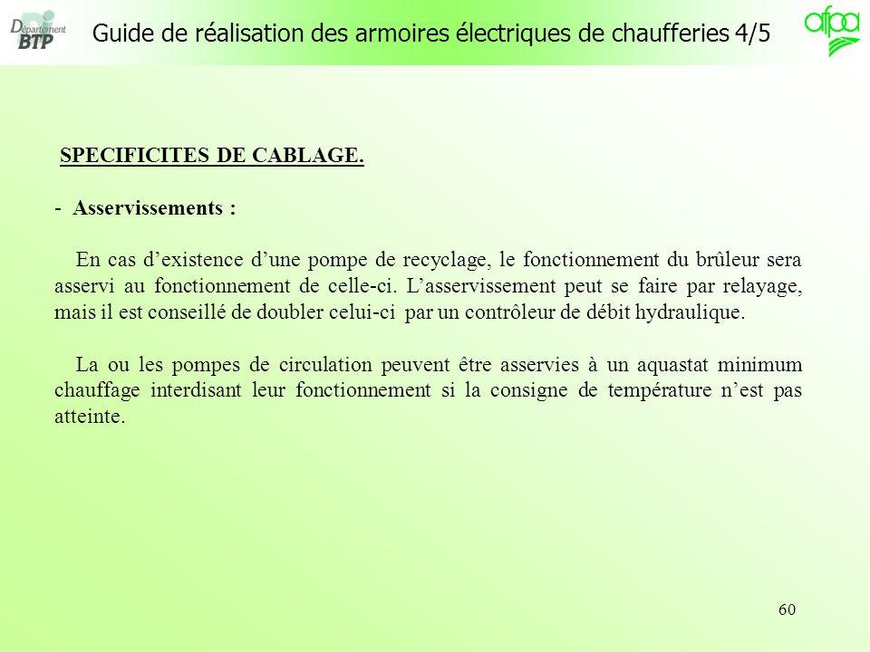 60 Guide de réalisation des armoires électriques de chaufferies 4/5 SPECIFICITES DE CABLAGE. - Asservissements : En cas dexistence dune pompe de recyc