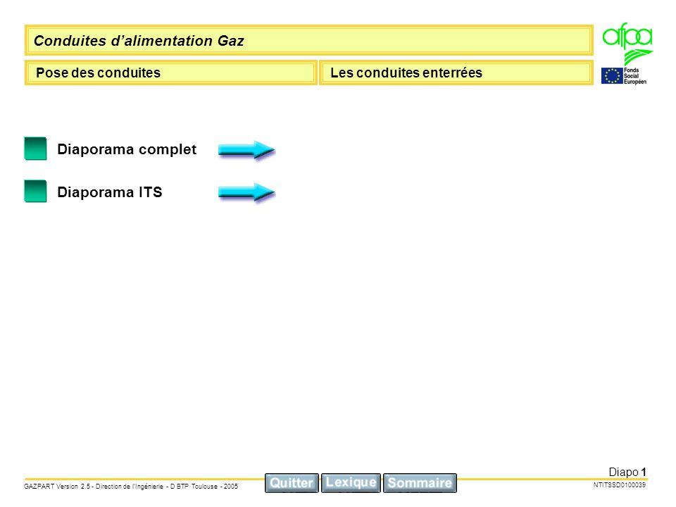 Conduites dalimentation Gaz Pose des conduitesLes conduites enterrées NTITSSD0100039 GAZPART Version 2.5 - Direction de lIngénierie - D BTP Toulouse - 2005 Diapo 2 La tuyauterie doit être installée avec une couverture minimale de 0,50cm.