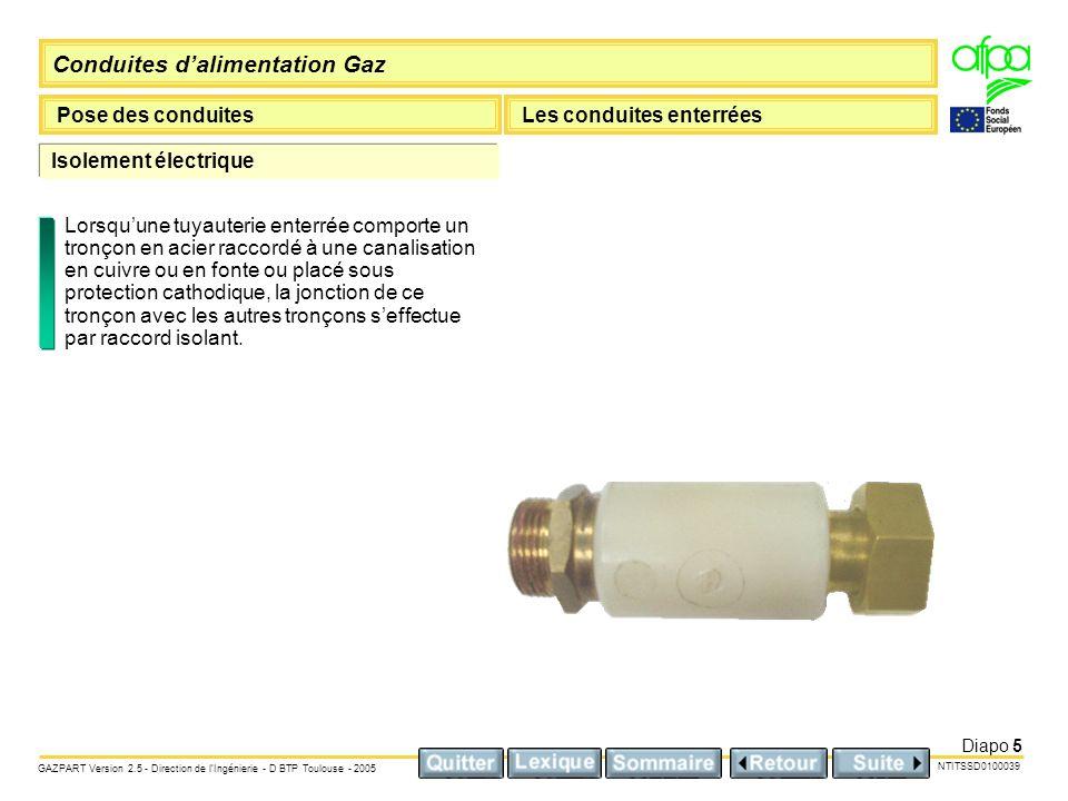 Conduites dalimentation Gaz Pose des conduitesLes conduites enterrées NTITSSD0100039 GAZPART Version 2.5 - Direction de lIngénierie - D BTP Toulouse -