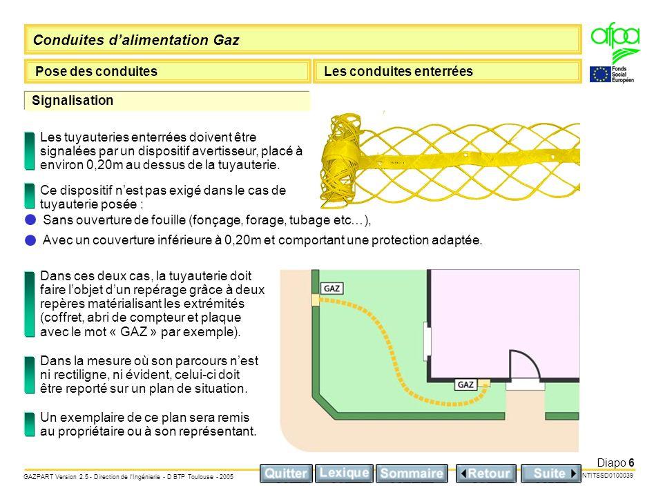 Conduites dalimentation Gaz Pose des conduitesLes conduites enterrées NTITSSD0100039 GAZPART Version 2.5 - Direction de lIngénierie - D BTP Toulouse - 2005 Diapo 17 Raccord PE / Cu ou raccord PE / Acier Mise en œuvre avec qualification.