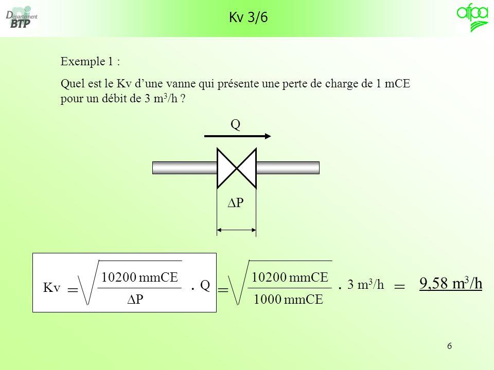 6 Kv 3/6 Exemple 1 : Quel est le Kv dune vanne qui présente une perte de charge de 1 mCE pour un débit de 3 m 3 /h ? P Q = 10200 mmCE 1000 mmCE. 3 m 3