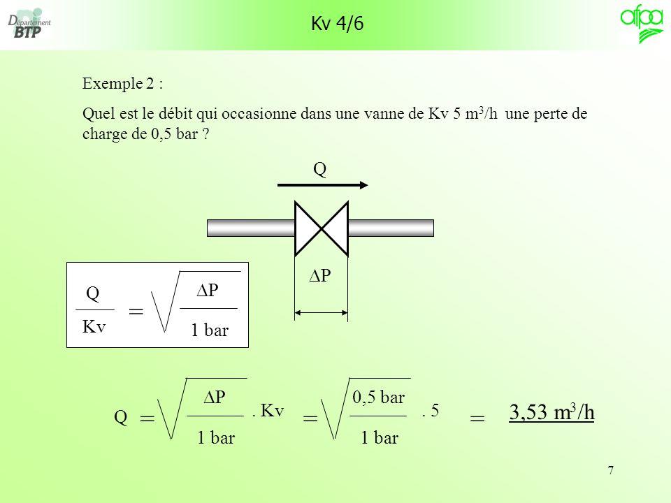 7 Kv 4/6 Exemple 2 : Quel est le débit qui occasionne dans une vanne de Kv 5 m 3 /h une perte de charge de 0,5 bar ? P Q 3,53 m 3 /h = Kv = 1 bar P Q.