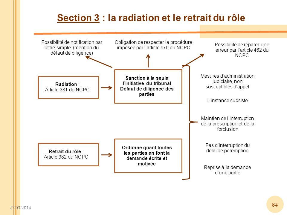 27/03/2014 84 Section 3 : la radiation et le retrait du rôle Radiation : Article 381 du NCPC Sanction à la seule linitiative du tribunal Défaut de dil
