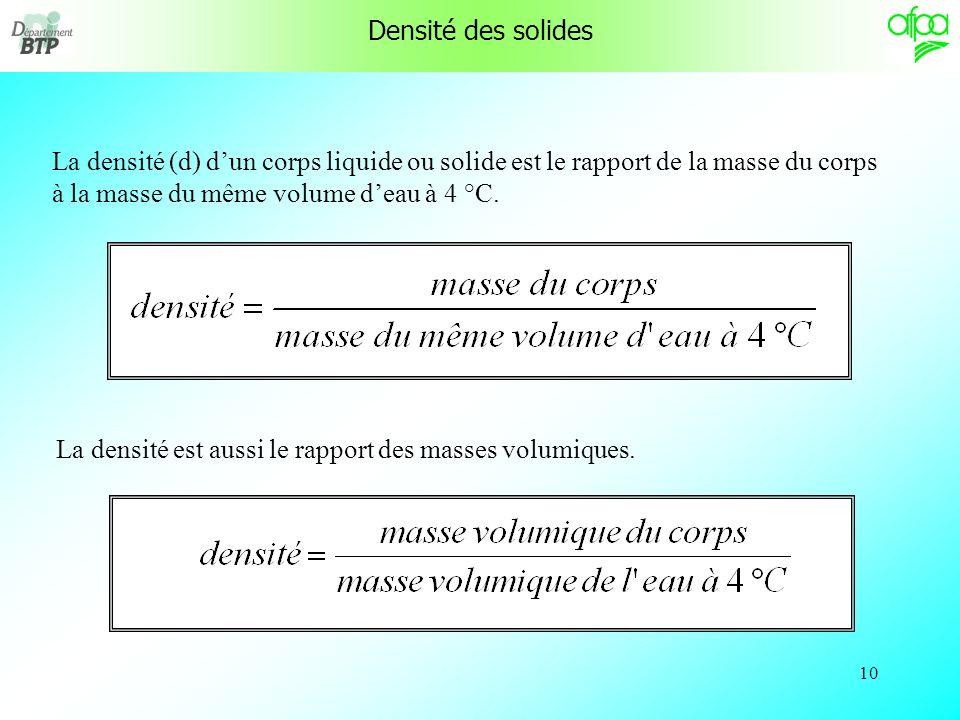 9 Quelques exemples de masse volumique : 1 kg/dm 3 Leau à 4 °C 1,293 kg/m 3 (n)Lair à 0 °C 0,84 kg/dm 3 Le fioul domestique 11,3 kg/dm 3 Le plomb 13,6