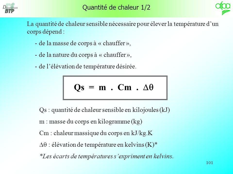 100 Unité de chaleur 2/2 Lunité actuelle de chaleur (et dénergie en général) est le Joule (J). 1 cal = 4,185 J donc : 1 J = 0,24 cal Le joule correspo