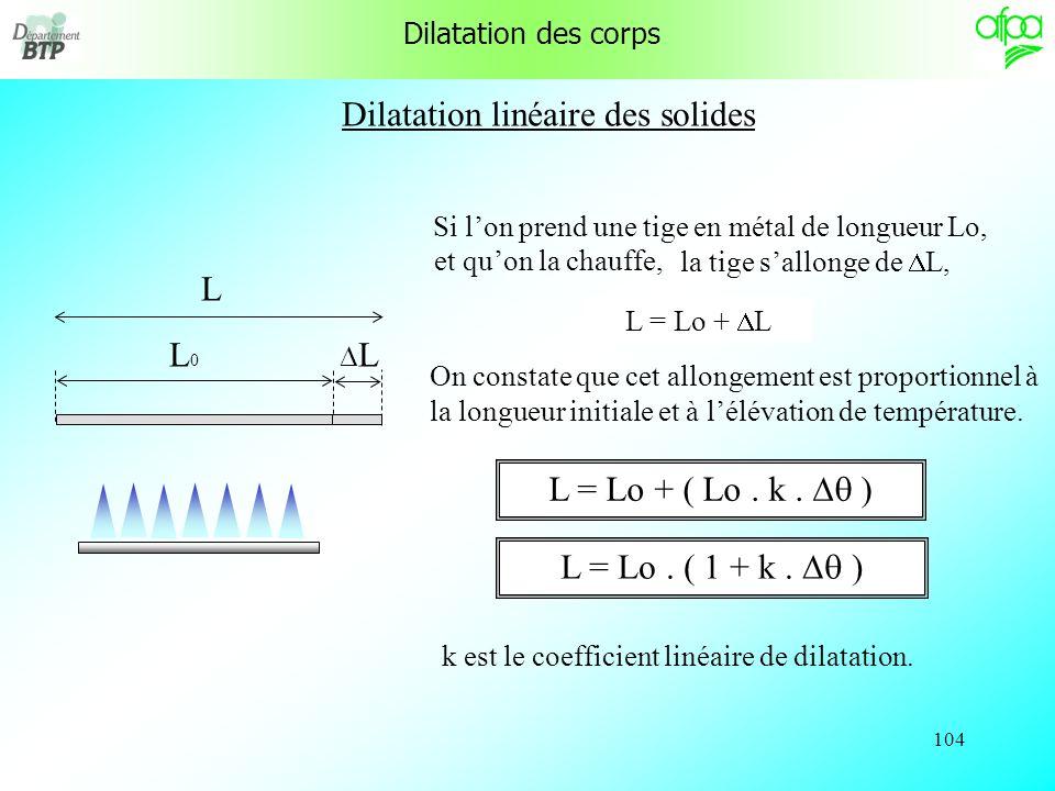 103 Physique appliquée au génie climatique Dilatation des corps Solubilité des gaz dans leau Solubilité des gaz et chauffage central Changement détat