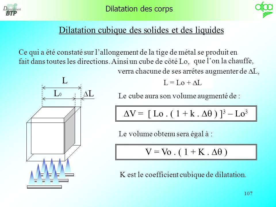 106 Dilatation linéaire des solides Exercice dapplication : Le coefficient k du fer est de 11,5. 10 -6. Un tube de chauffage de 10 m de longueur a été