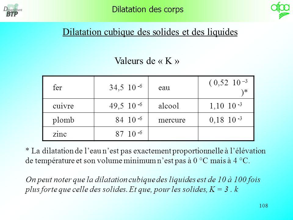 107 Dilatation cubique des solides et des liquides L0L0 Ce qui a été constaté sur lallongement de la tige de métal se produit en fait dans toutes les