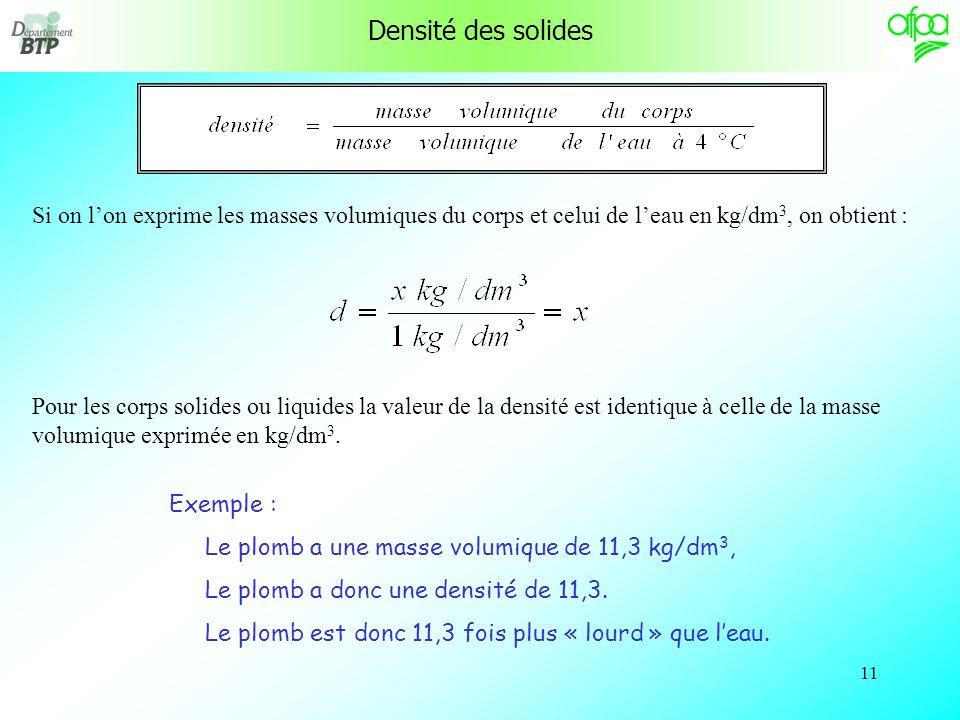 10 Densité des solides La densité (d) dun corps liquide ou solide est le rapport de la masse du corps à la masse du même volume deau à 4 °C. La densit