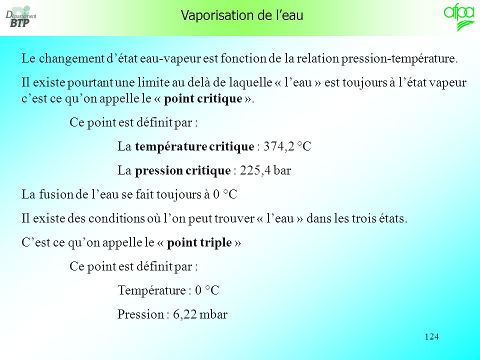 123 Tableau de relation Pression absolue– température dévaporation Pression absolue bar évaporation °C Pression absolue bar évaporation °C Pression ab