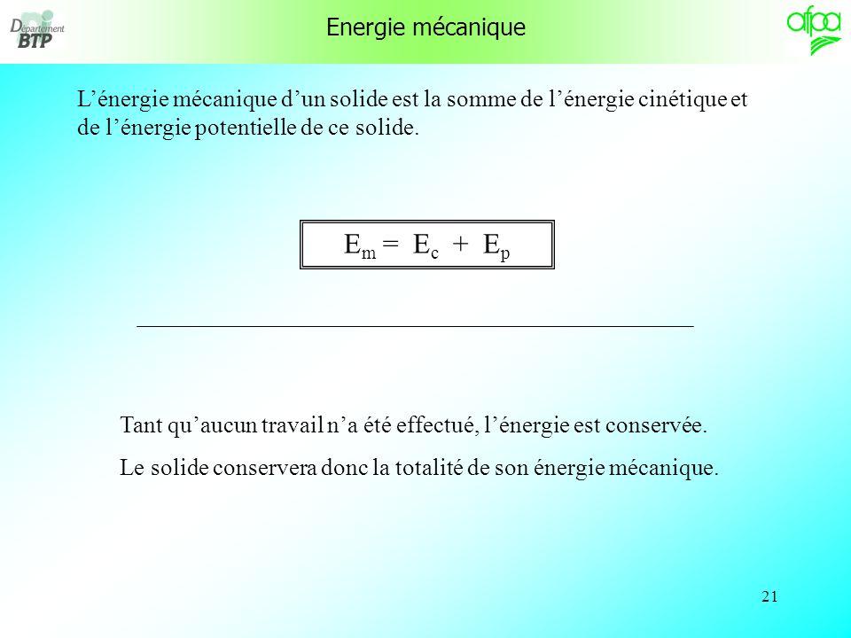 20 Lénergie cinétique dun solide en mouvement dépend de sa masse et de sa vitesse. E c = ½. m. v² m en kg, v en m/s, E c en Joules v = 216 000 m/h / 3
