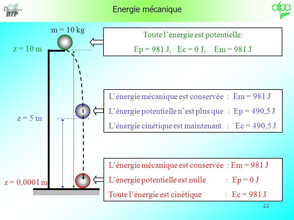 21 Energie mécanique Lénergie mécanique dun solide est la somme de lénergie cinétique et de lénergie potentielle de ce solide. E m = E c + E p Tant qu