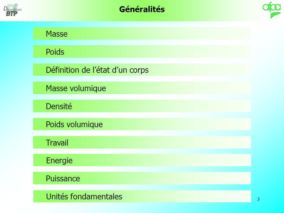 3 Généralités Masse Poids Définition de létat dun corps Masse volumique Densité Poids volumique Travail Energie Puissance Unités fondamentales