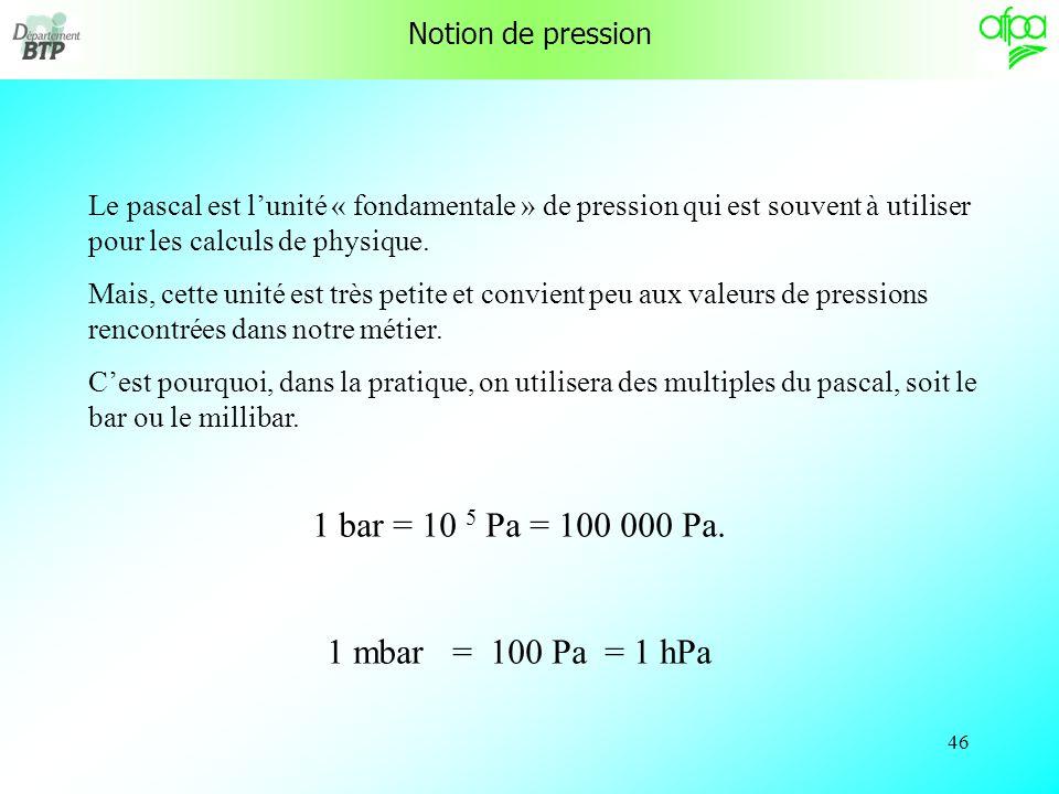 45 Notion de pression La pression résulte de laction exercée par une force ou un poids sur une surface. La pression (P) est le rapport de la force (F)