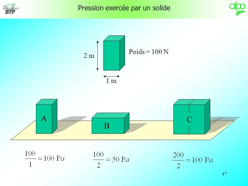46 Le pascal est lunité « fondamentale » de pression qui est souvent à utiliser pour les calculs de physique.