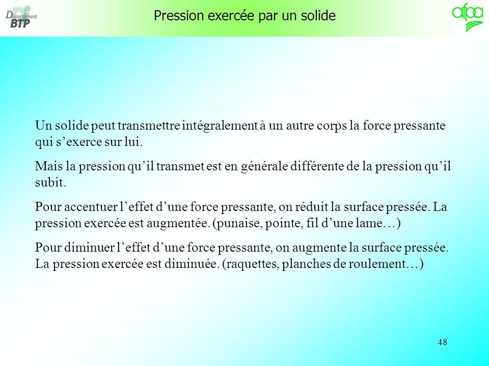 47 Pression exercée par un solide 1 m 2 m Poids = 100 N A B C