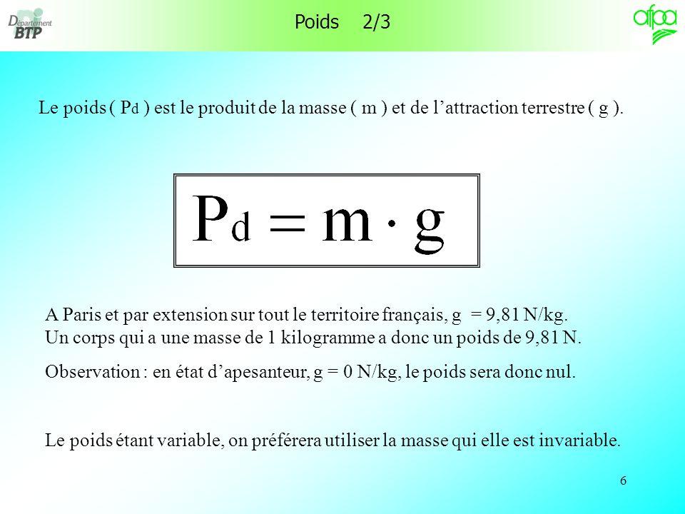 6 Poids 2/3 Le poids ( P d ) est le produit de la masse ( m ) et de lattraction terrestre ( g ).