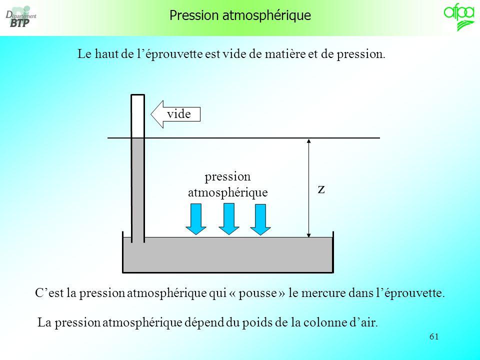 60 Pression atmosphérique Si lon plonge totalement une éprouvette dans un bain de mercure et quon la fait pivoter, on saperçoit que le niveau de mercure ne peut dépasser une certaine altitude dans léprouvette.