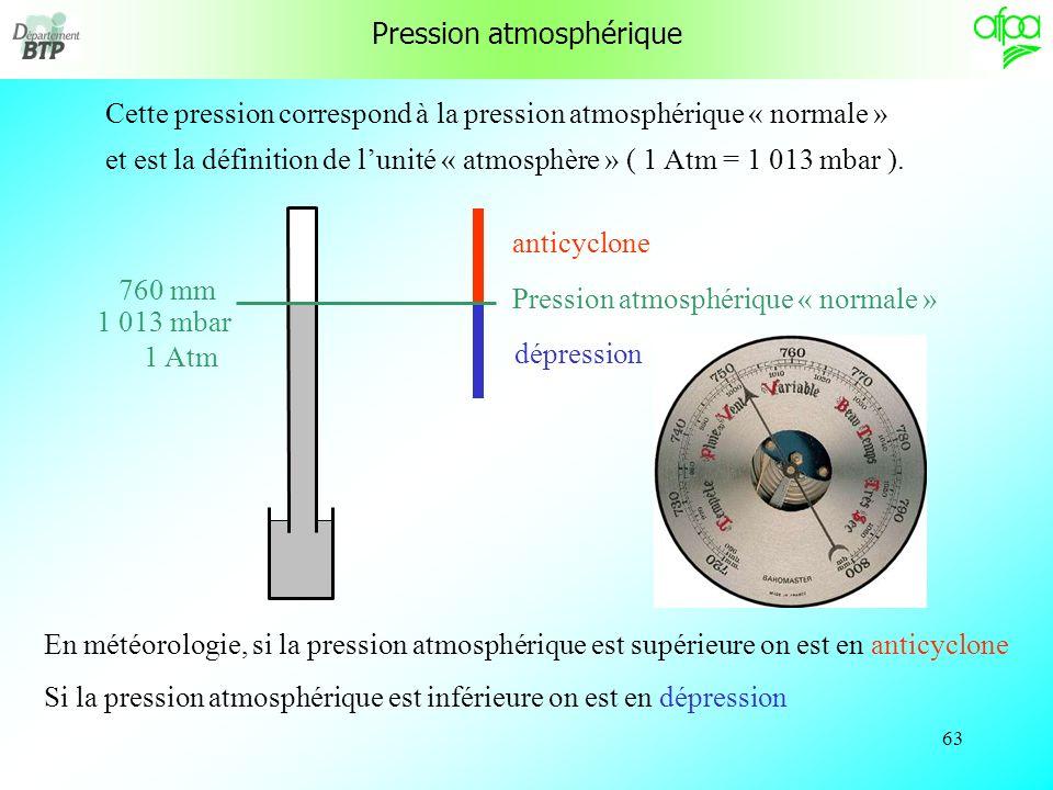 62 En moyenne, la hauteur de mercure est de 760 mm, la masse volumique du mercure est de 13 600 kg/m 3 la pression atmosphérique est donc égale à : P