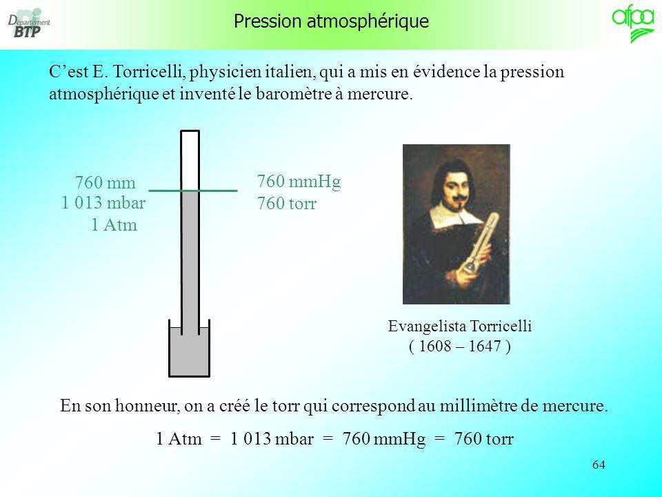 63 Cette pression correspond à la pression atmosphérique « normale » En météorologie, si la pression atmosphérique est supérieure on est en anticyclone Si la pression atmosphérique est inférieure on est en dépression 760 mm Pression atmosphérique « normale » 1 013 mbar anticyclone dépression et est la définition de lunité « atmosphère » ( 1 Atm = 1 013 mbar ).