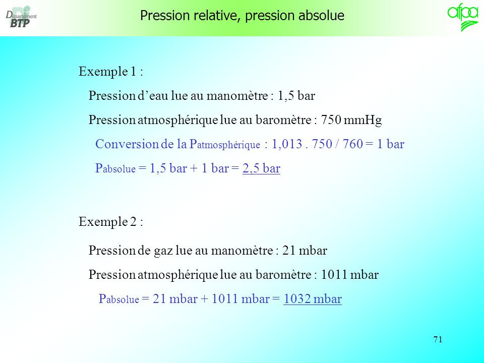70 P absolue = P relative + P atmosphérique P relative P atmosph. P absolue Pression relative, pression absolue