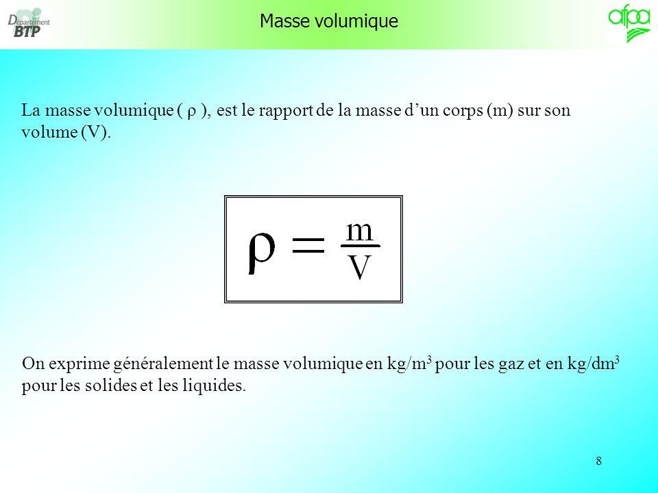 8 Masse volumique La masse volumique ( ρ ), est le rapport de la masse dun corps (m) sur son volume (V).