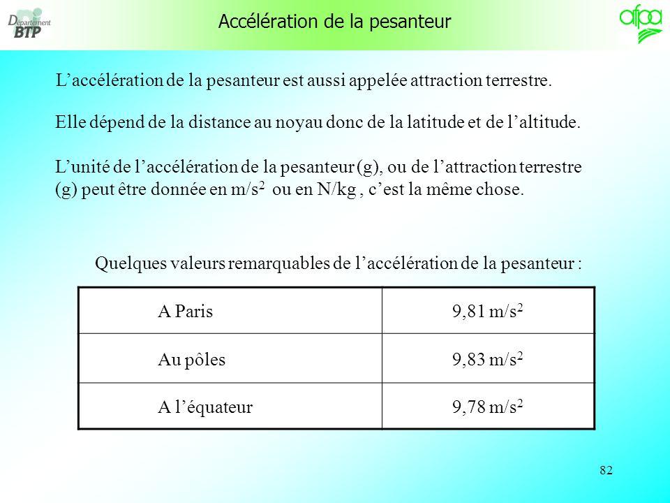 81 Accélération Laccélération est caractérisée par une augmentation de vitesse. t a v lunité de temps (t) est la seconde. Lunité de vitesse ( v )est l