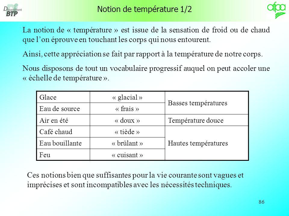 85 Thermique Notion de température Histoire des thermomètres Les inventeurs Conversion dunités de température Notion de chaleur Transmission de chaleu