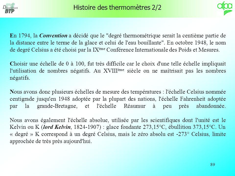 88 Histoire des thermomètres 1/2 Le premier thermomètre véritable a été inventé à Florence en 1654 par le grand duc de Toscane. L'appareil, à alcool,