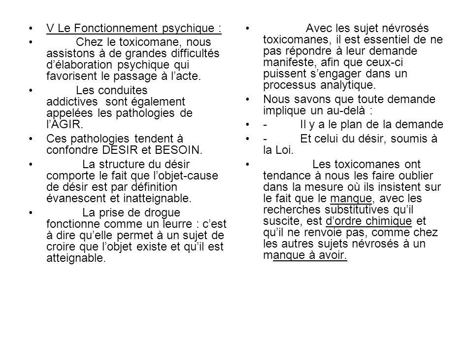 V Le Fonctionnement psychique : Chez le toxicomane, nous assistons à de grandes difficultés délaboration psychique qui favorisent le passage à lacte.