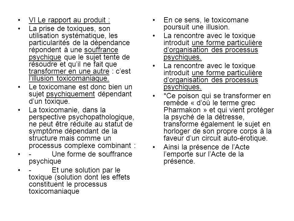 VI Le rapport au produit : La prise de toxiques, son utilisation systématique, les particularités de la dépendance répondent à une souffrance psychiqu