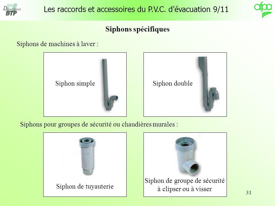 31 Siphons spécifiques Siphons de machines à laver : Siphon simple Siphon de groupe de sécurité à clipser ou à visser Siphon double Siphon de tuyauter
