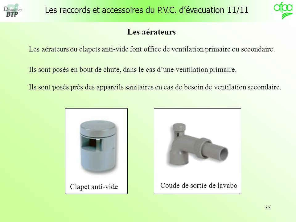 33 Les aérateurs Les aérateurs ou clapets anti-vide font office de ventilation primaire ou secondaire. Clapet anti-vide Coude de sortie de lavabo Ils