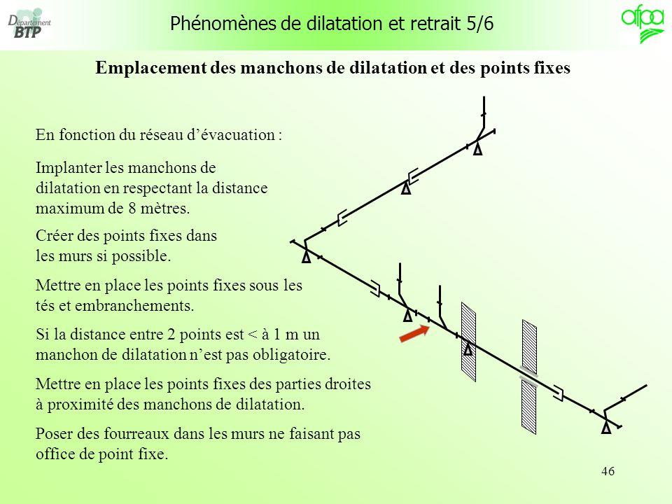 46 En fonction du réseau dévacuation : Implanter les manchons de dilatation en respectant la distance maximum de 8 mètres. Créer des points fixes dans