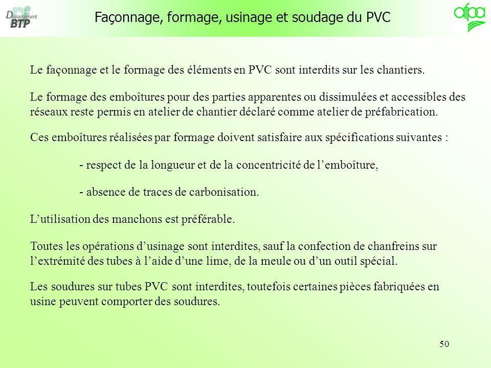 50 Le façonnage et le formage des éléments en PVC sont interdits sur les chantiers. Le formage des emboîtures pour des parties apparentes ou dissimulé