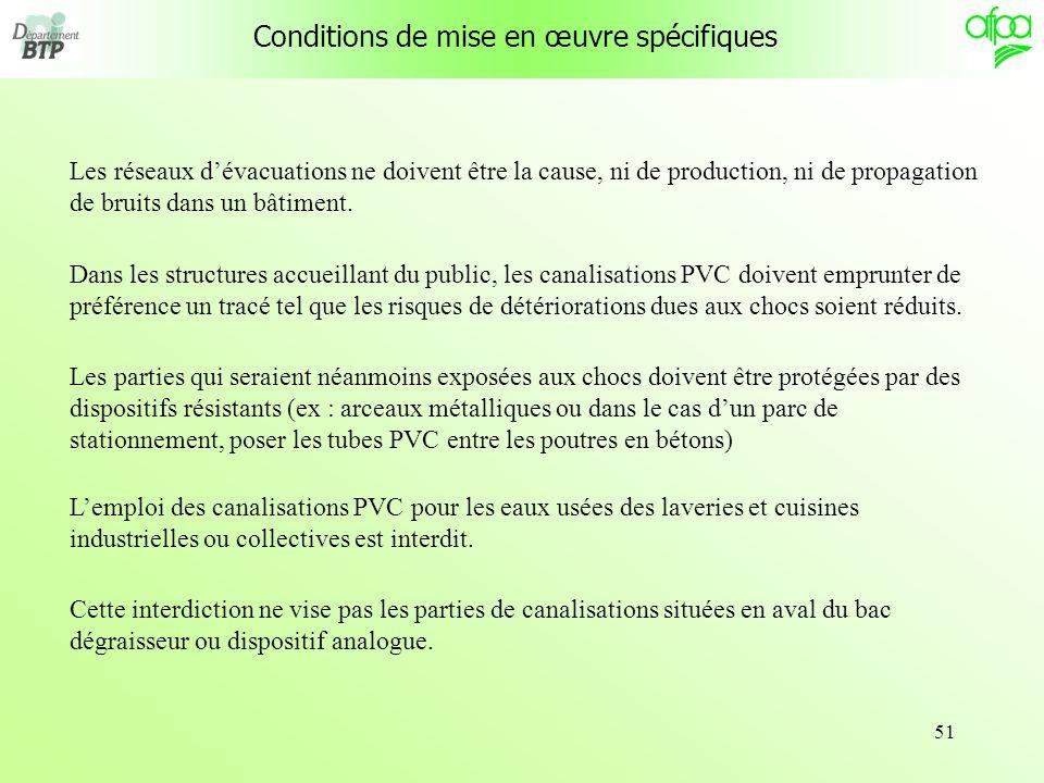 51 Les réseaux dévacuations ne doivent être la cause, ni de production, ni de propagation de bruits dans un bâtiment. Dans les structures accueillant