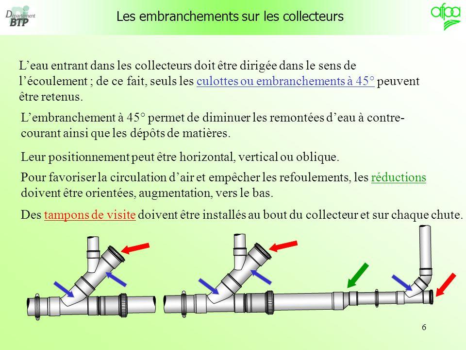 6 Leau entrant dans les collecteurs doit être dirigée dans le sens de lécoulement ; de ce fait, seuls les culottes ou embranchements à 45° peuvent êtr