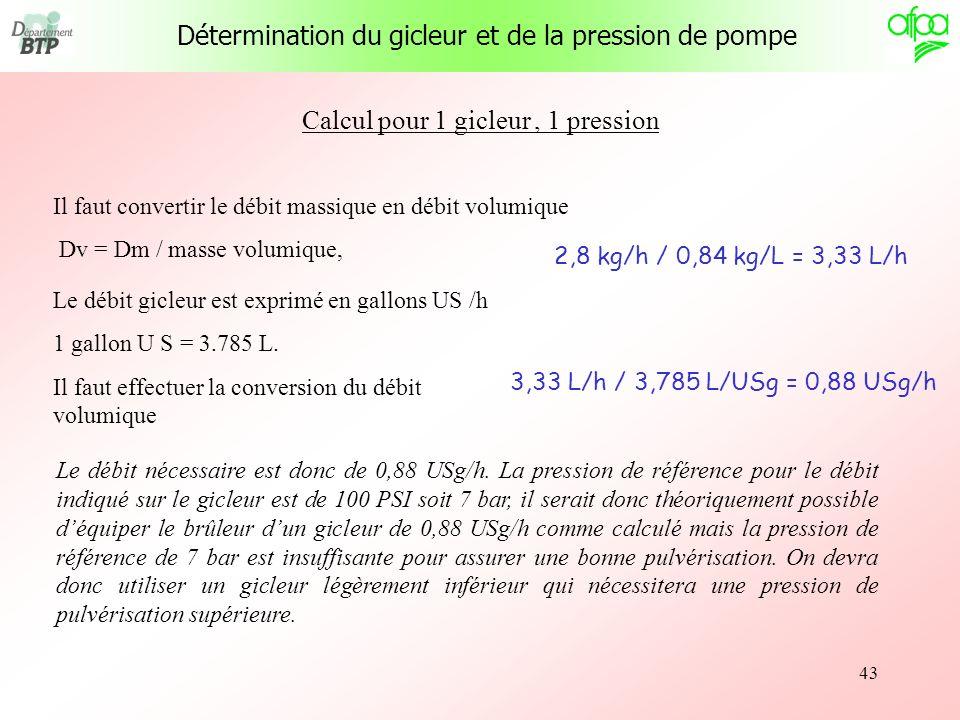 43 Il faut convertir le débit massique en débit volumique Dv = Dm / masse volumique, 2,8 kg/h / 0,84 kg/L = 3,33 L/h Le débit gicleur est exprimé en g