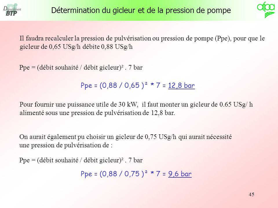 45 Il faudra recalculer la pression de pulvérisation ou pression de pompe (Ppe), pour que le gicleur de 0,65 USg/h débite 0,88 USg/h Ppe = (débit souh
