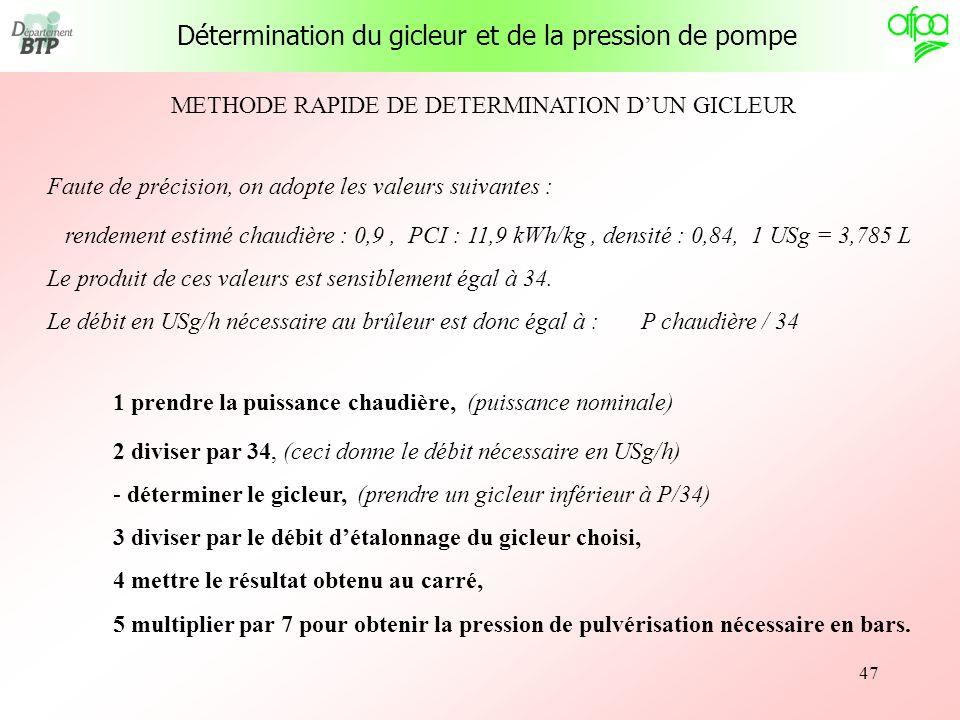 47 METHODE RAPIDE DE DETERMINATION DUN GICLEUR Faute de précision, on adopte les valeurs suivantes : rendement estimé chaudière : 0,9, PCI : 11,9 kWh/
