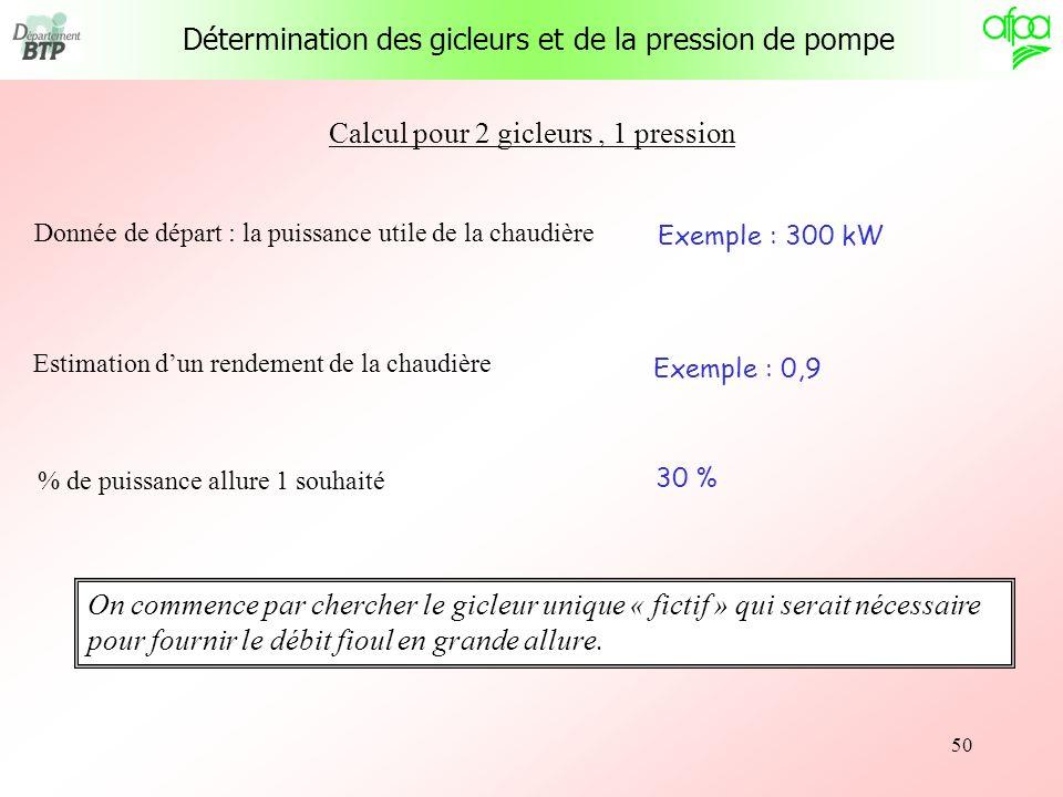 50 Calcul pour 2 gicleurs, 1 pression Donnée de départ : la puissance utile de la chaudière Exemple : 300 kW Estimation dun rendement de la chaudière