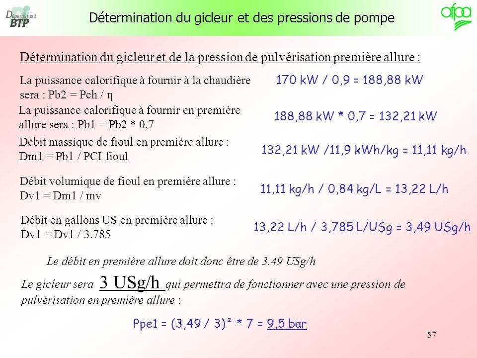 57 Détermination du gicleur et de la pression de pulvérisation première allure : La puissance calorifique à fournir à la chaudière sera : Pb2 = Pch /