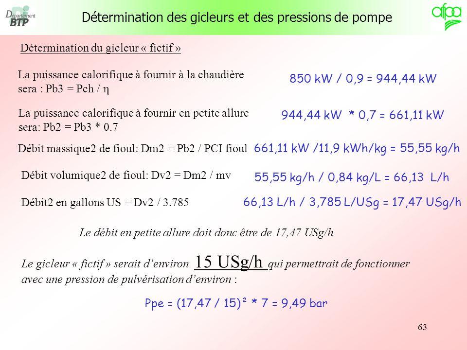 63 La puissance calorifique à fournir à la chaudière sera : Pb3 = Pch / η 850 kW / 0,9 = 944,44 kW Débit massique2 de fioul: Dm2 = Pb2 / PCI fioul 661