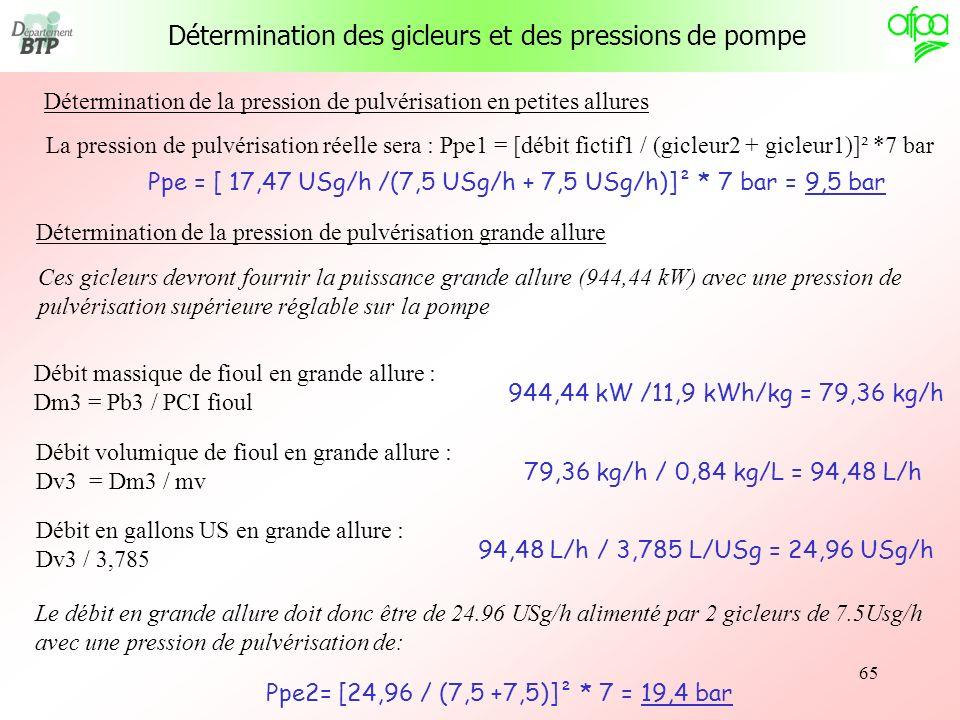 65 La pression de pulvérisation réelle sera : Ppe1 = [débit fictif1 / (gicleur2 + gicleur1)]² *7 bar Ppe = [ 17,47 USg/h /(7,5 USg/h + 7,5 USg/h)]² *