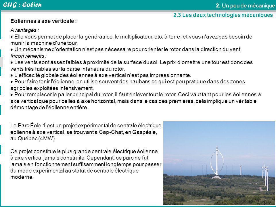 thierry.suaton@univ-savoie.fr 2. Un peu de mécanique Transformateur Le Parc Éole 1 est un projet expérimental de centrale électrique éolienne à axe ve