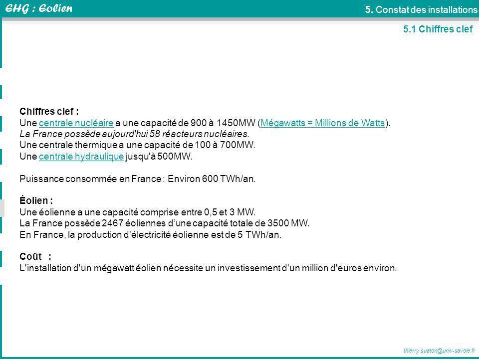 thierry.suaton@univ-savoie.fr 5. Constat des installations Chiffres clef : Une centrale nucléaire a une capacité de 900 à 1450MW (Mégawatts = Millions