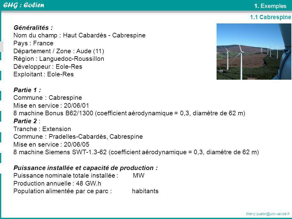 thierry.suaton@univ-savoie.fr 1. Exemples Généralités : Nom du champ : Haut Cabardès - Cabrespine Pays : France Département / Zone : Aude (11) Région